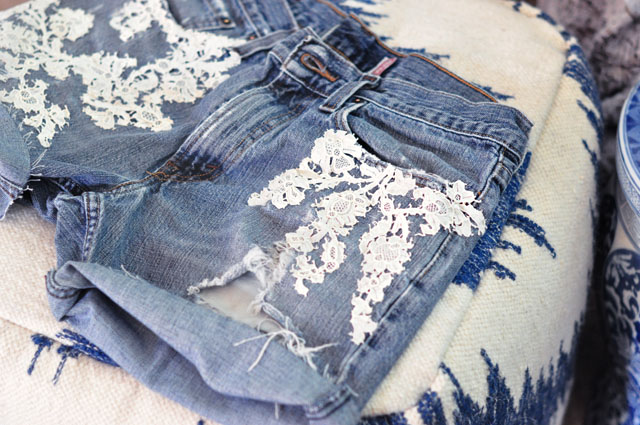 lace embroidered vintage jean shorts levis
