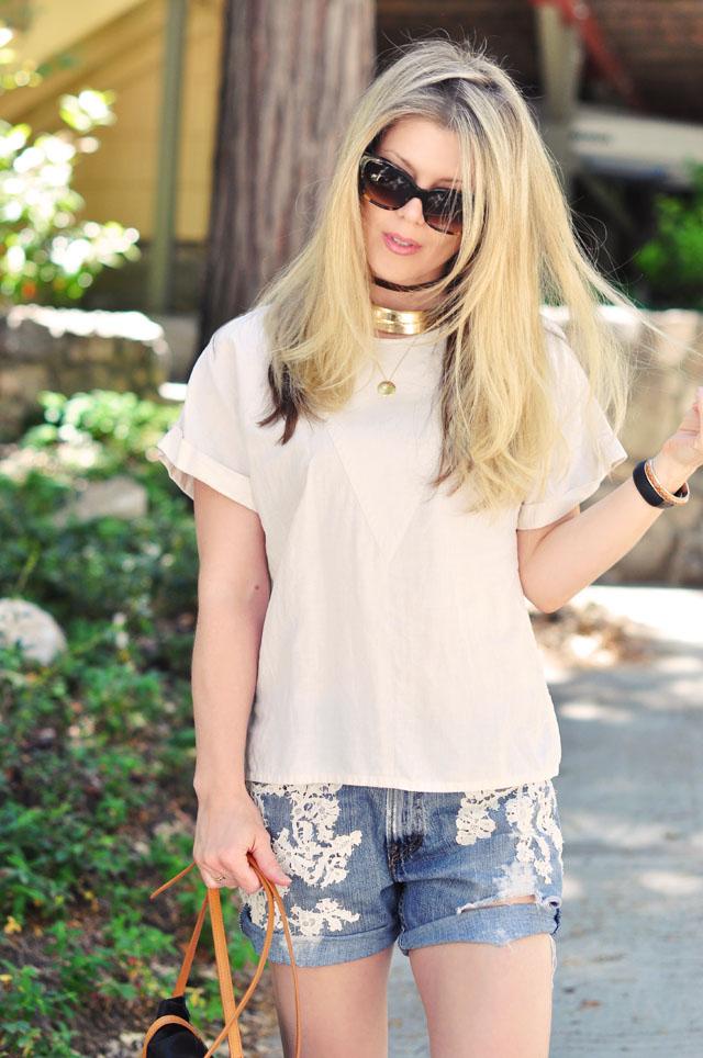 lace jean shorts- bohemain summer style