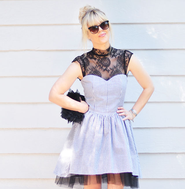 lace+seersucker dress