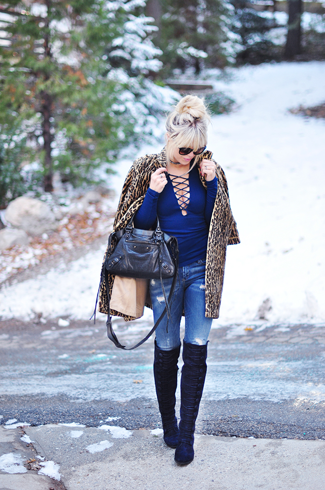 lace up top_leopard coat_ over the knee boots_outfit in the snow