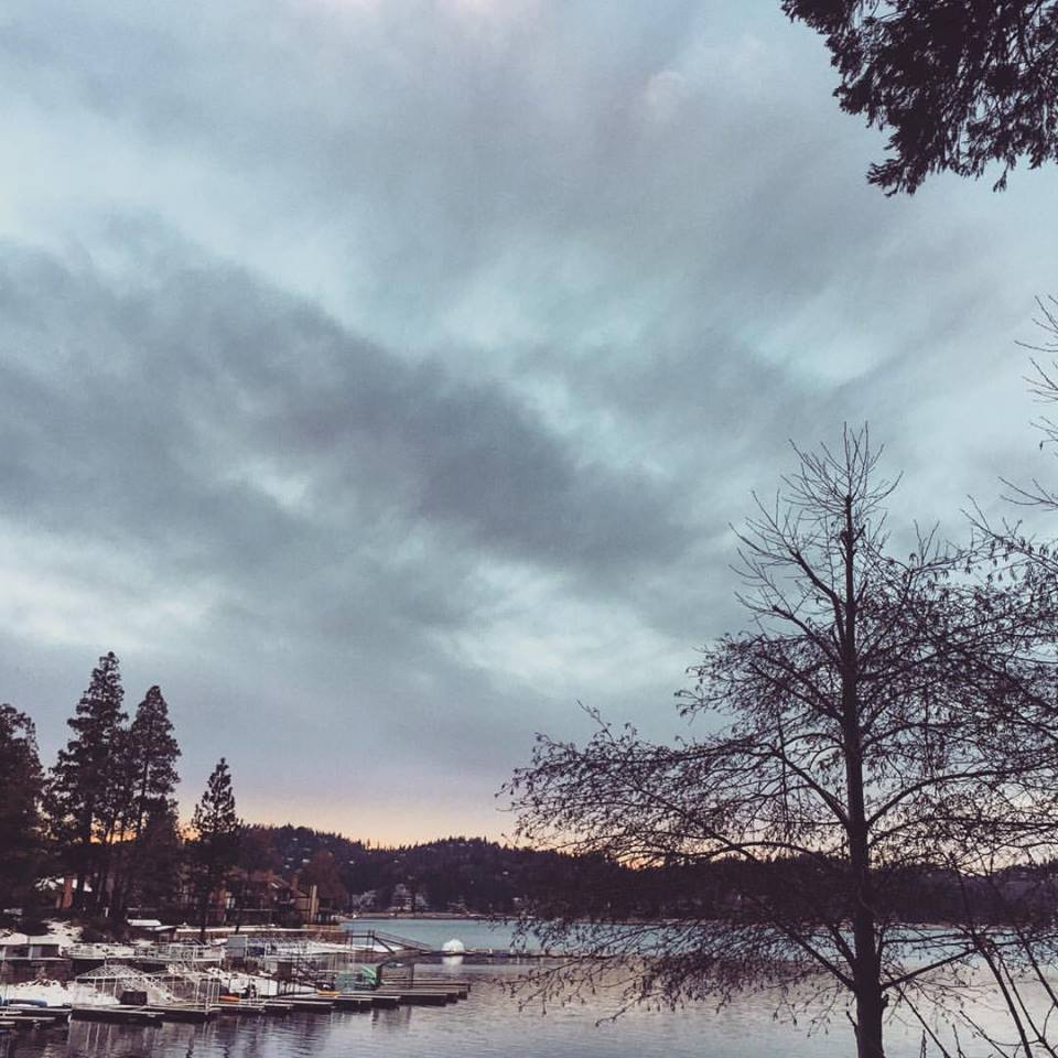 lake arrowhead winter sunset