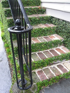 landscaping - brick with greenery in between steps