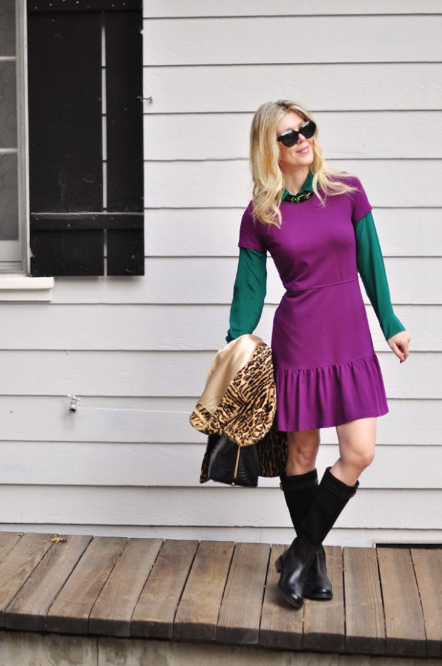 layered dress and blouse with boots