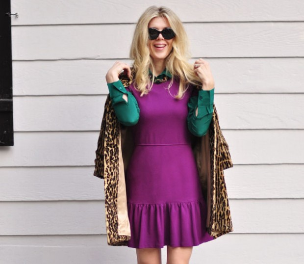 layering blouses under dresses-leopard coat