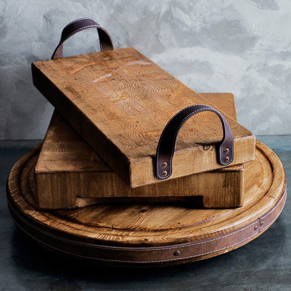 DIY Cutting Board with Leather Handles