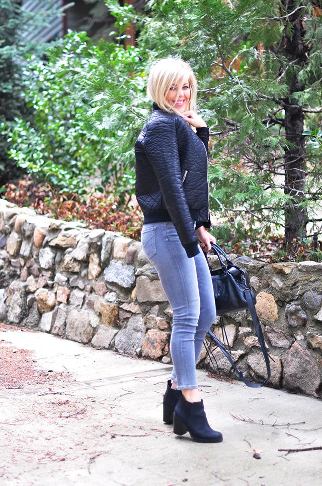 leather bomber jacket_grey jeans