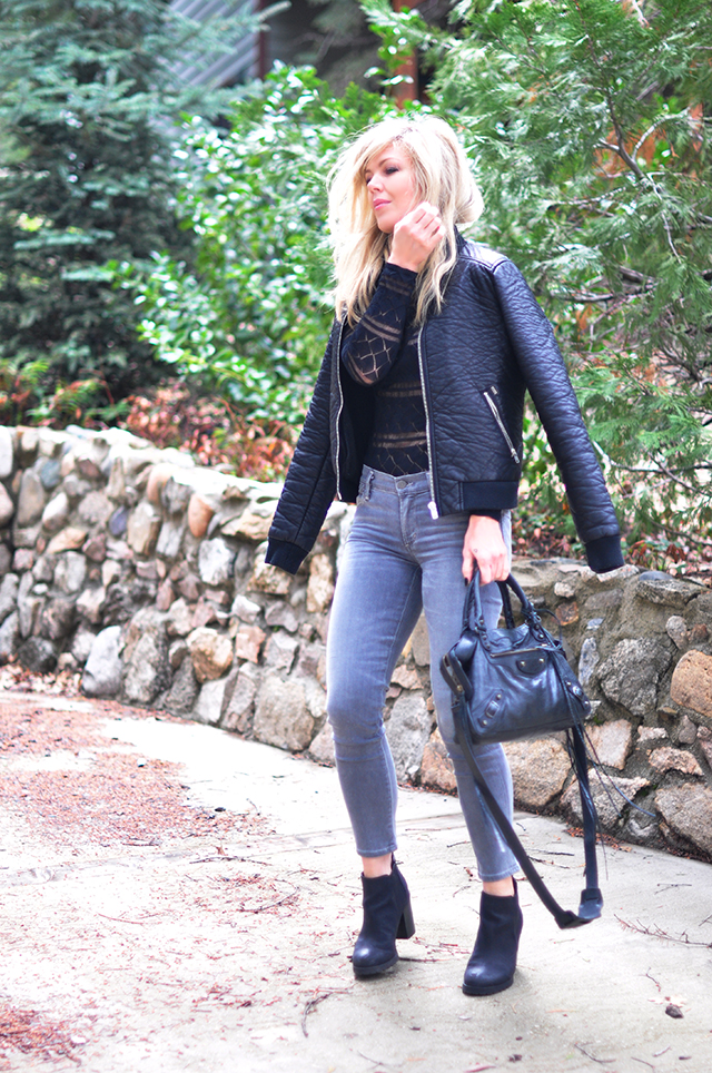 leather bomber_grey jeans_balenciaga