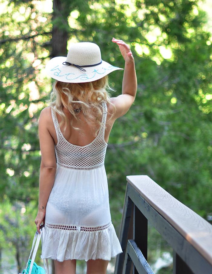summer style, leopard bikini, crocheted coverup, embroidered sun hat