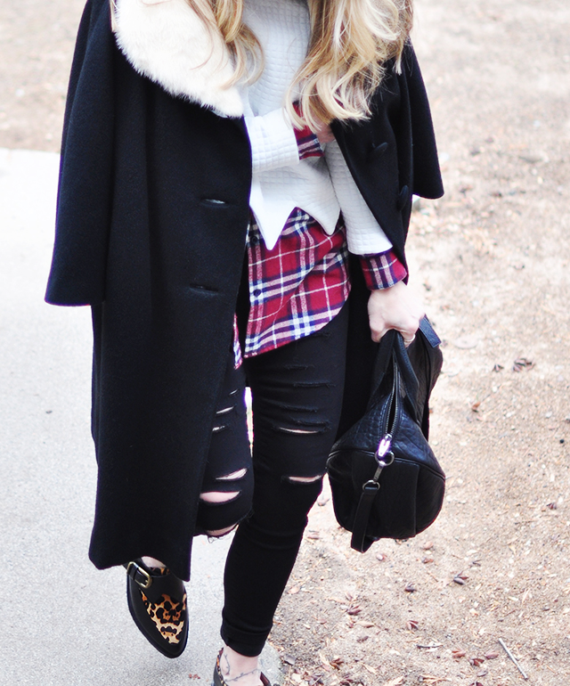 leopard creepers_plaid flannel_ripped skinnies_vintage coat