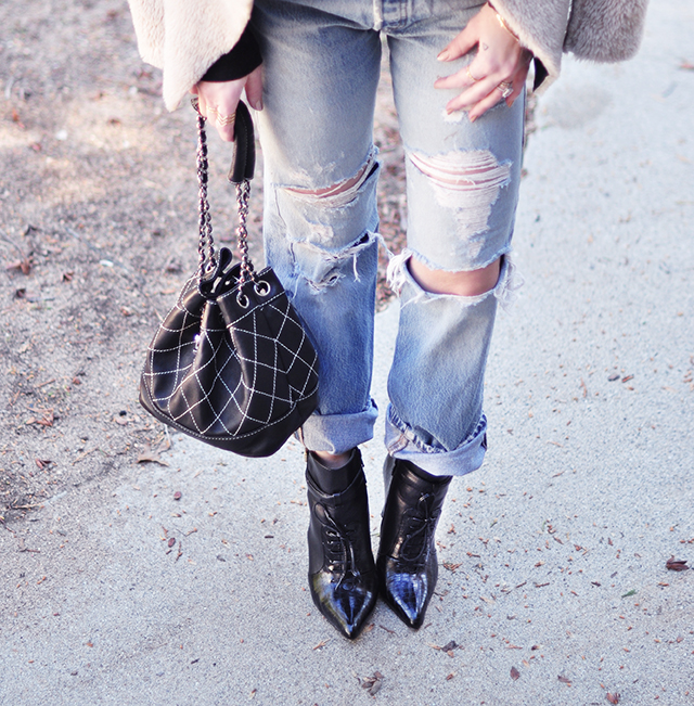 levis 501s_ripped jeans _chanel bucket bag_ankle boots