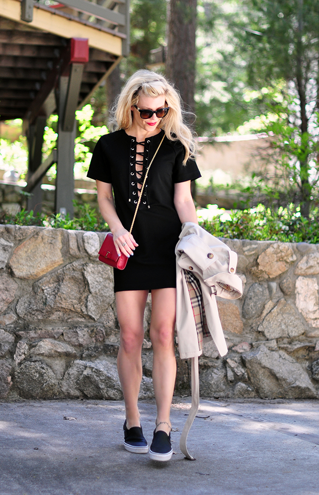 little black dress with lace up front