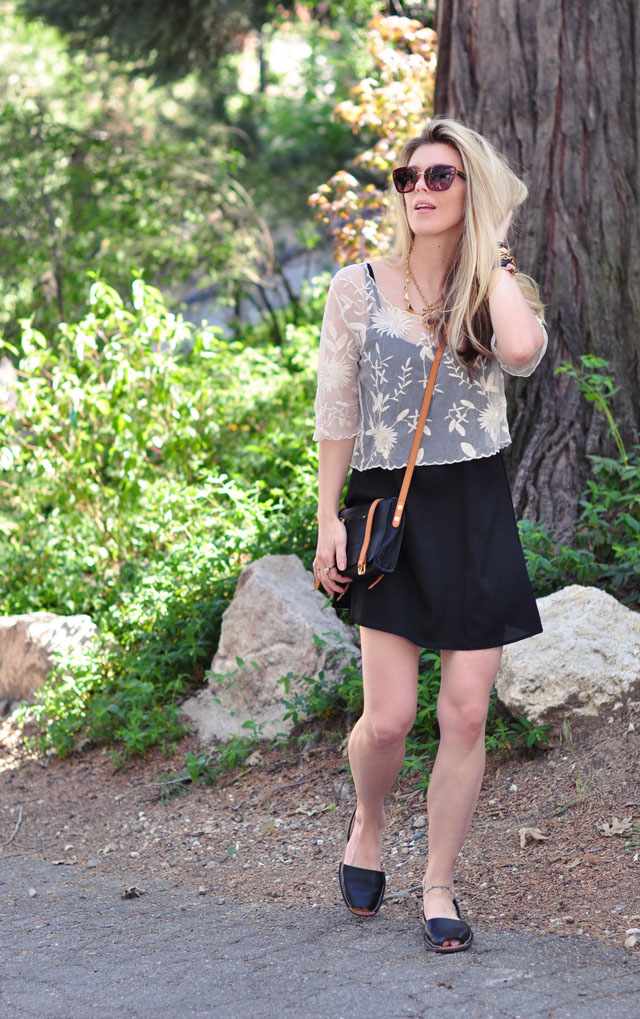 little black floaty dress with lace top