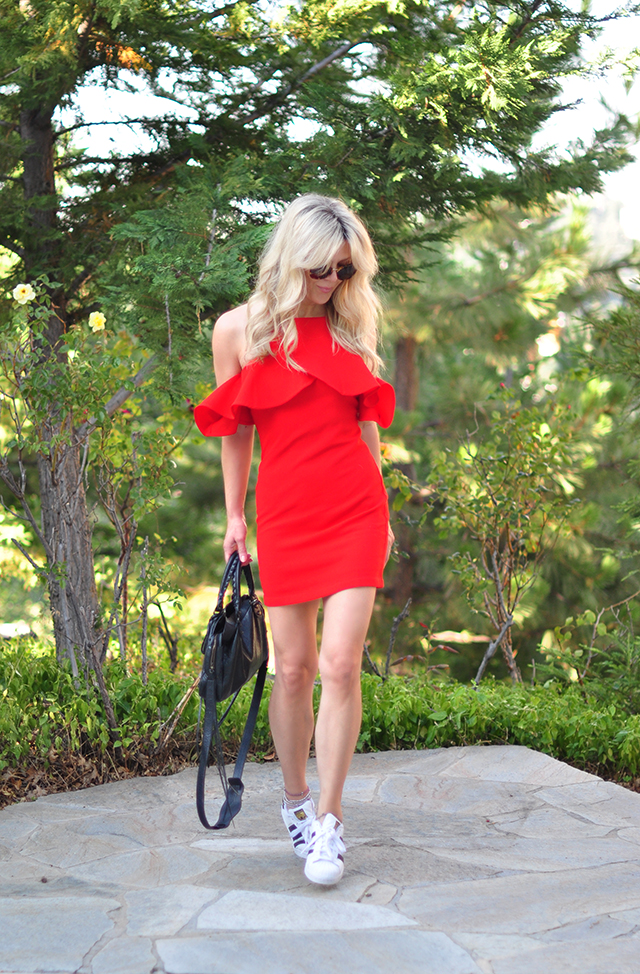 little red dress with sneakers