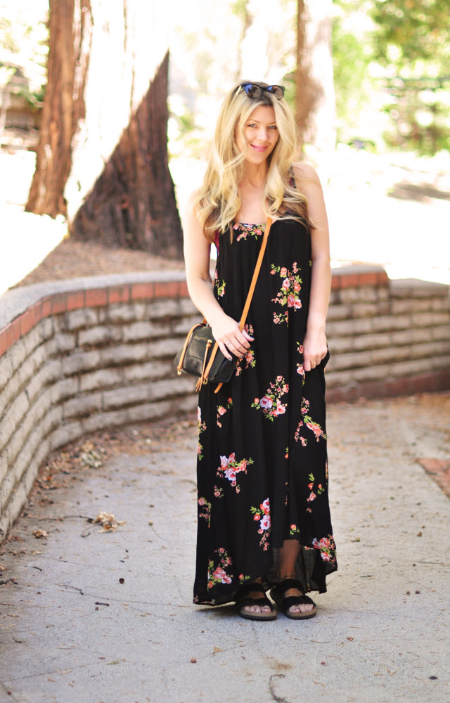 loose floral maxi with birkenstocks