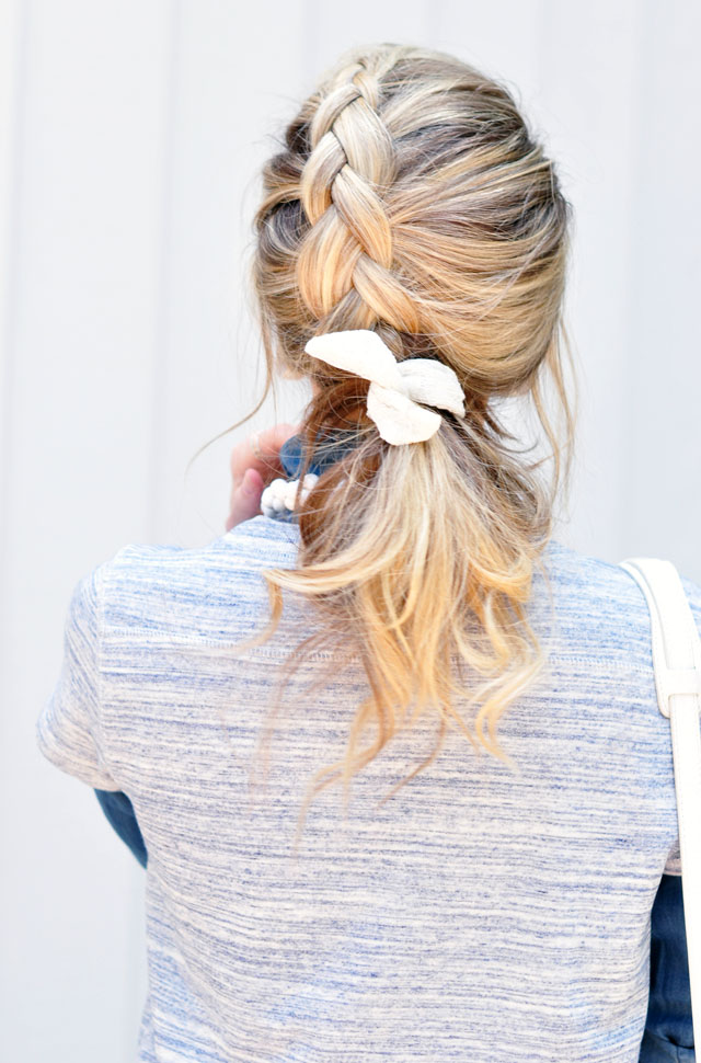loose french braid pony tail