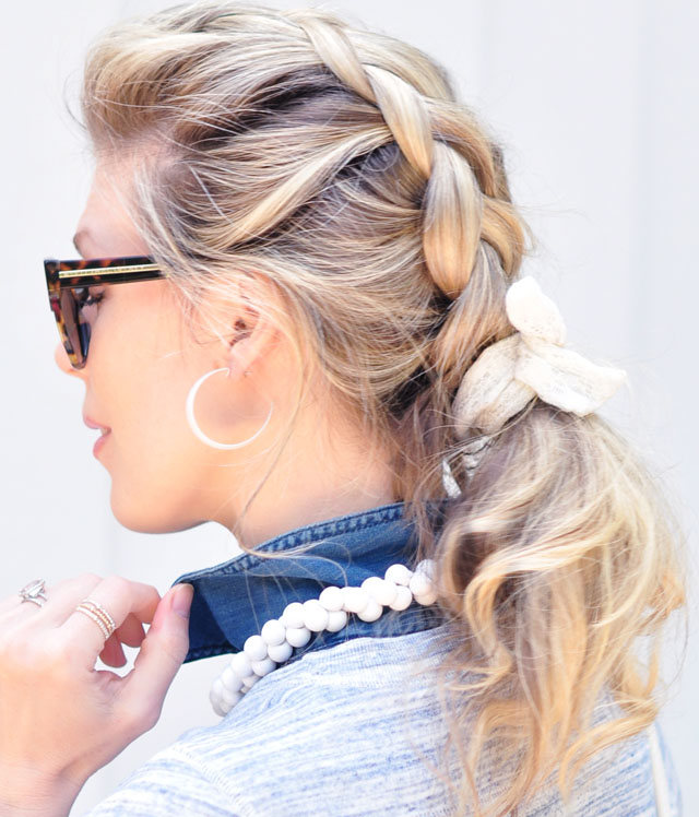 loose messy french braid and ponytail
