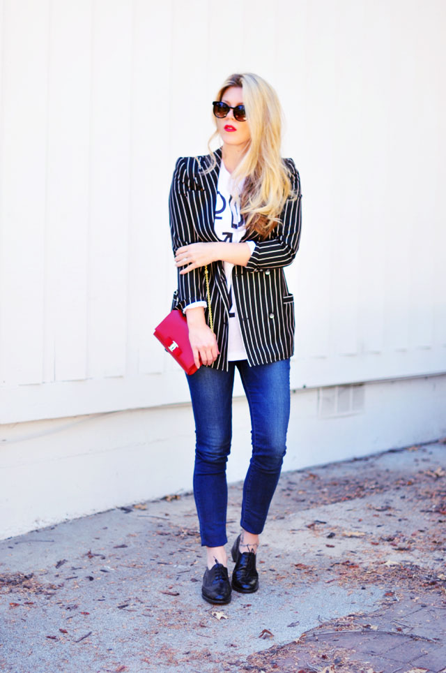 love is love-striped blazer-lace ups