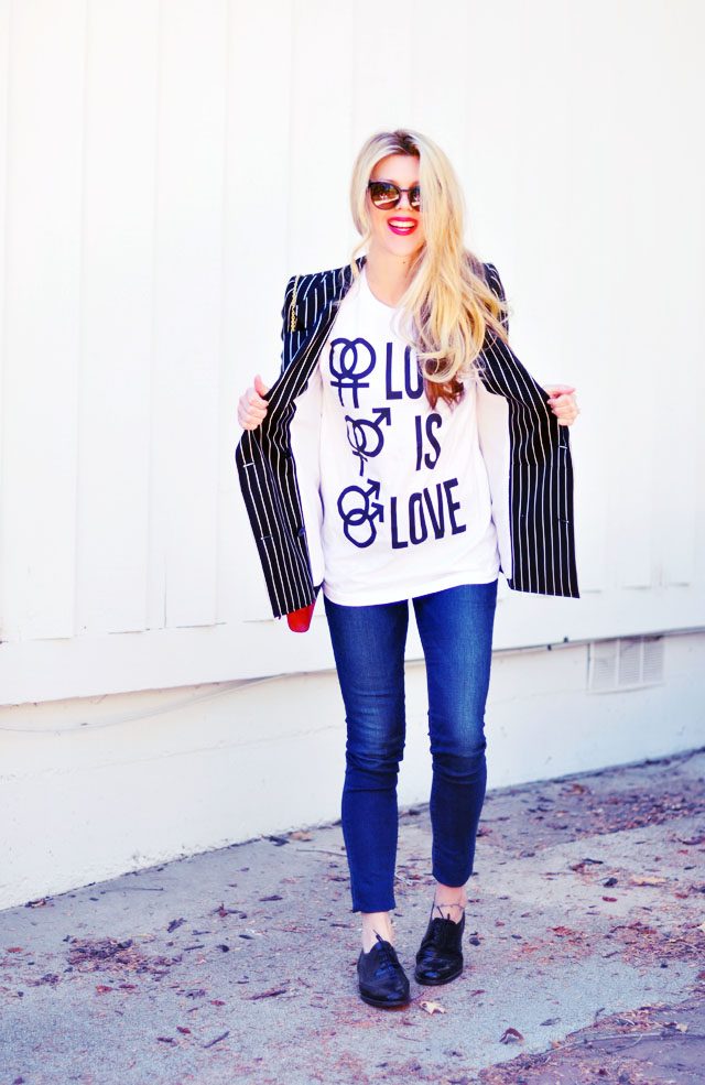 love is love t-shirt-jeans-striped blazer