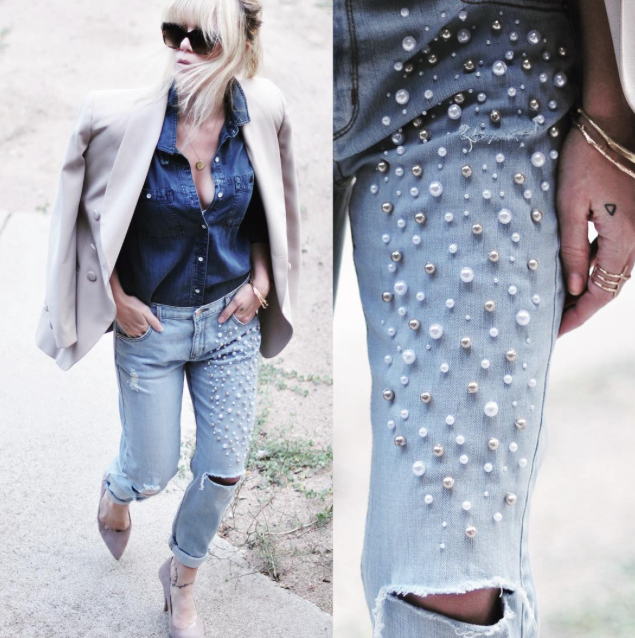 love maegan_DIY Pearl embellished jeans