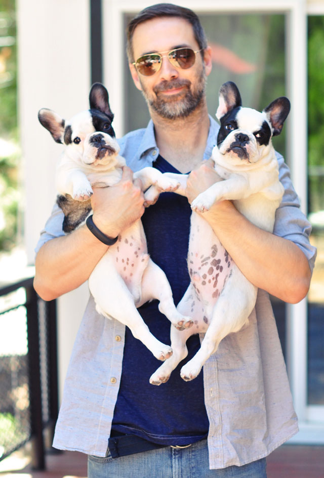 man style -  holiding the puppies