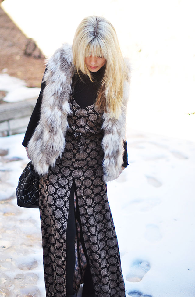 maxi dress+faux fur vest in the snow