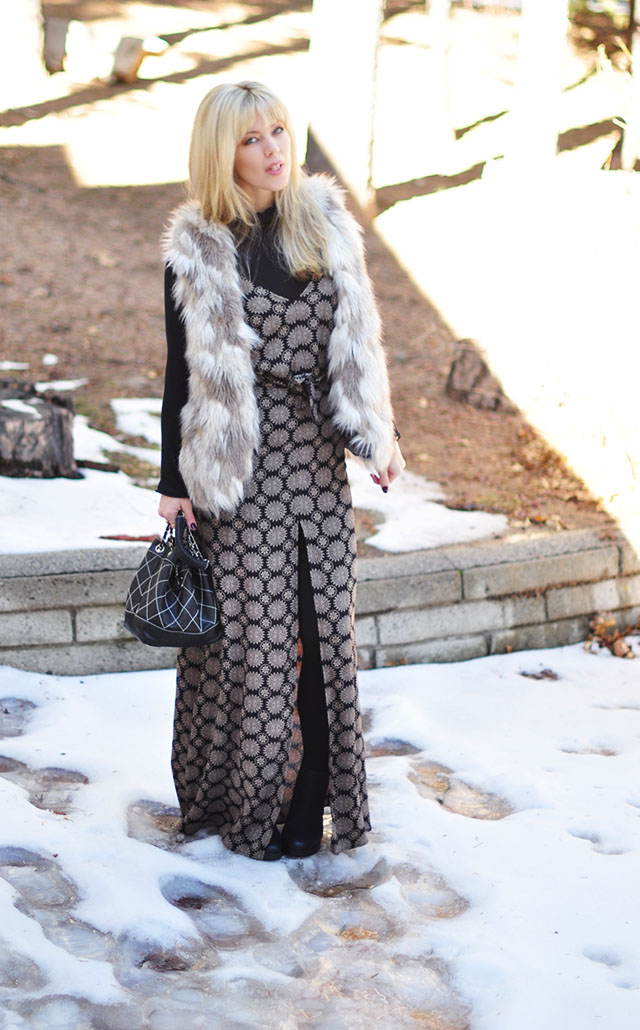 maxi dress-faux fur vest-in the snow