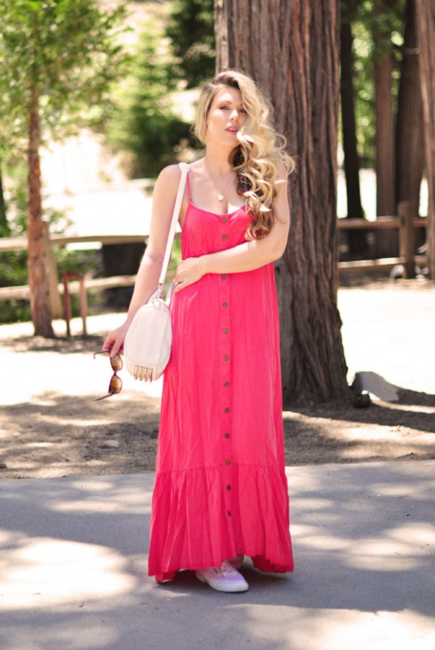 maxi dress-sneakers- wang bag-long hair