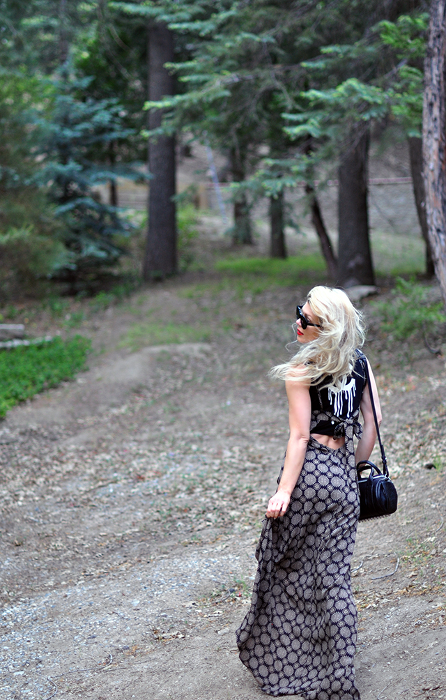 maxi dress layered over a crop tank tee with vans old skull sneakers - summer style