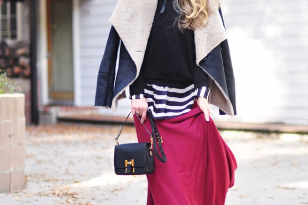 maxi skirt-stripes-shearling jacket