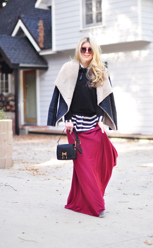maxi skirt-stripes-shearling jacket