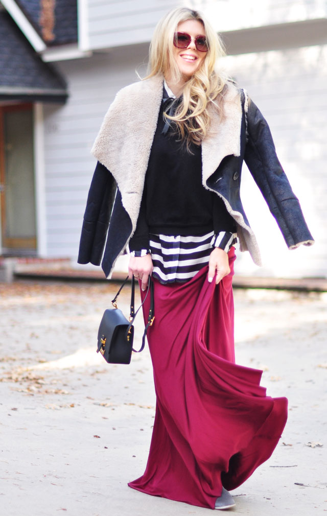 maxi skirt with shearling jacket