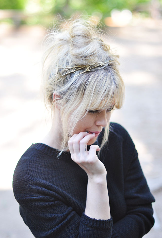 messy bun+bangs+fringe+gold twig branch hair pins diy