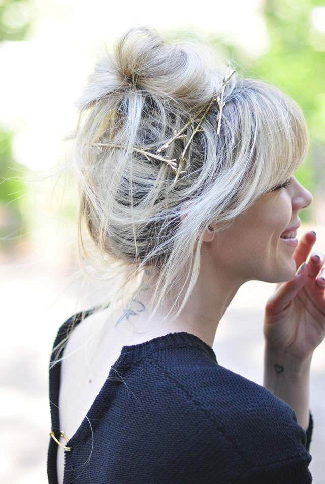 messy bun with bangs_ gold branch hair pins diy
