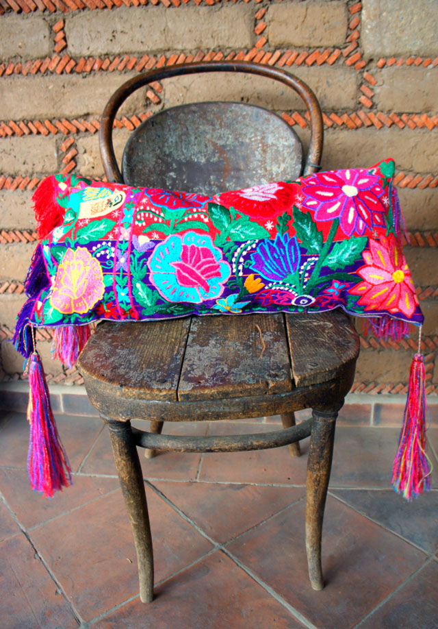 mexican pillow with tassels