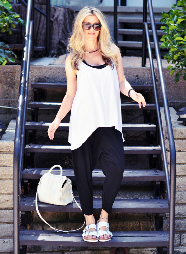 minimal assymetrical outfit-white birkenstocks