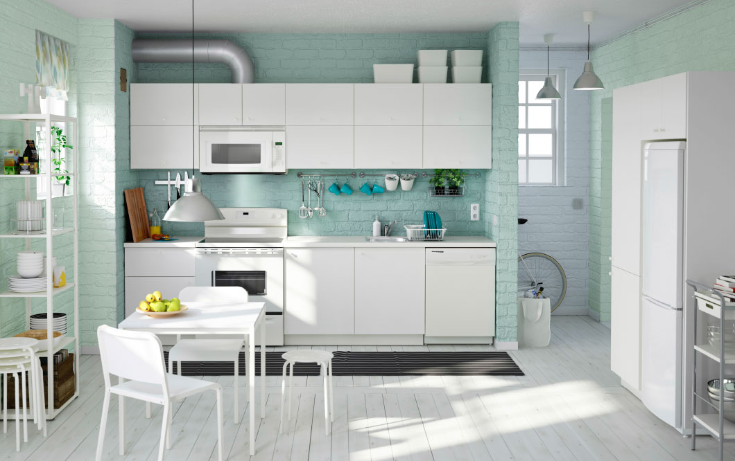 mint and white kitchen
