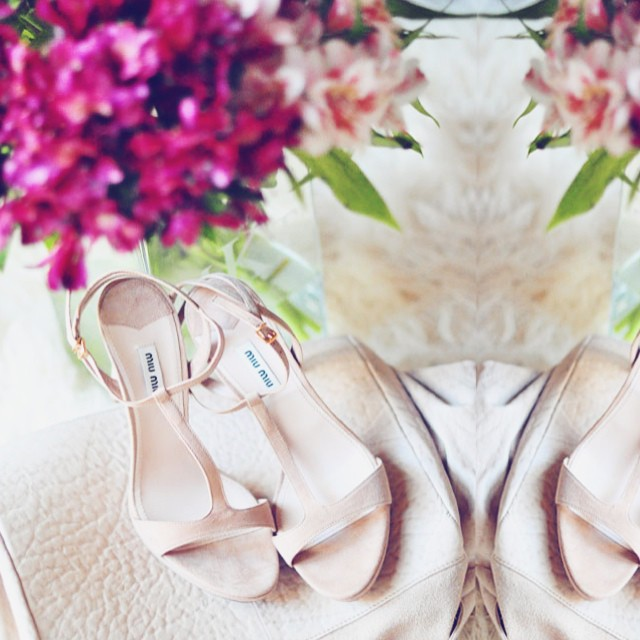 miu miu heels and flowers