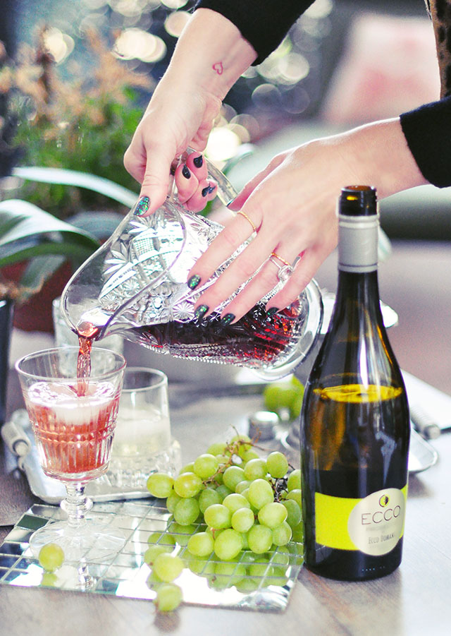 mixing juice with ProsECCO Domani