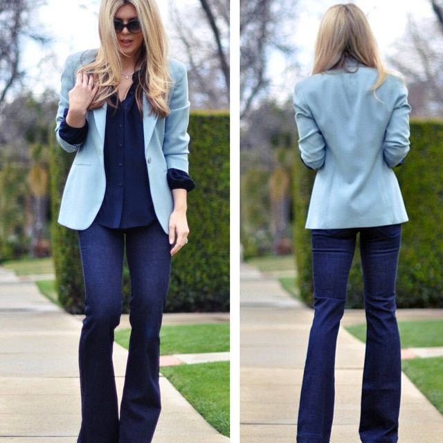 monochromatic blue outfit