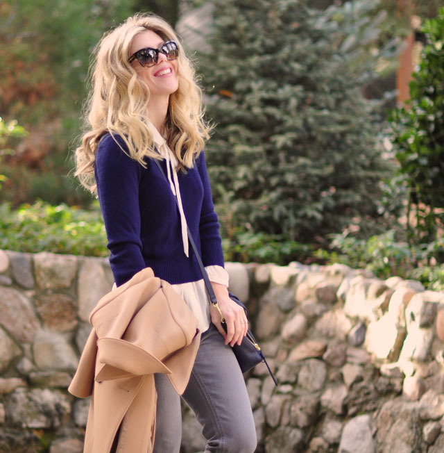 navy sweater-ivory blouse-gray jeans-camel coat