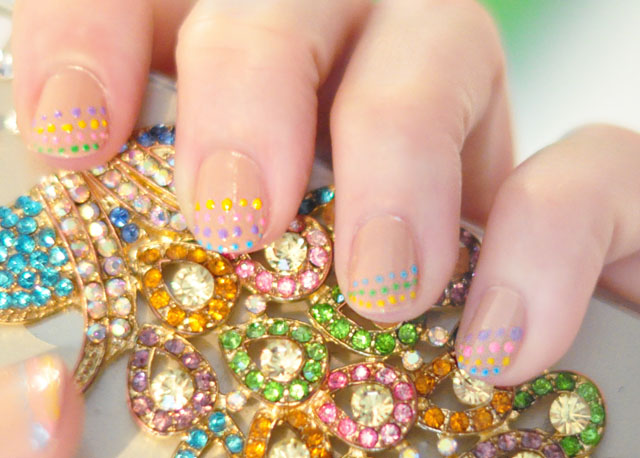 nude rainbow nails