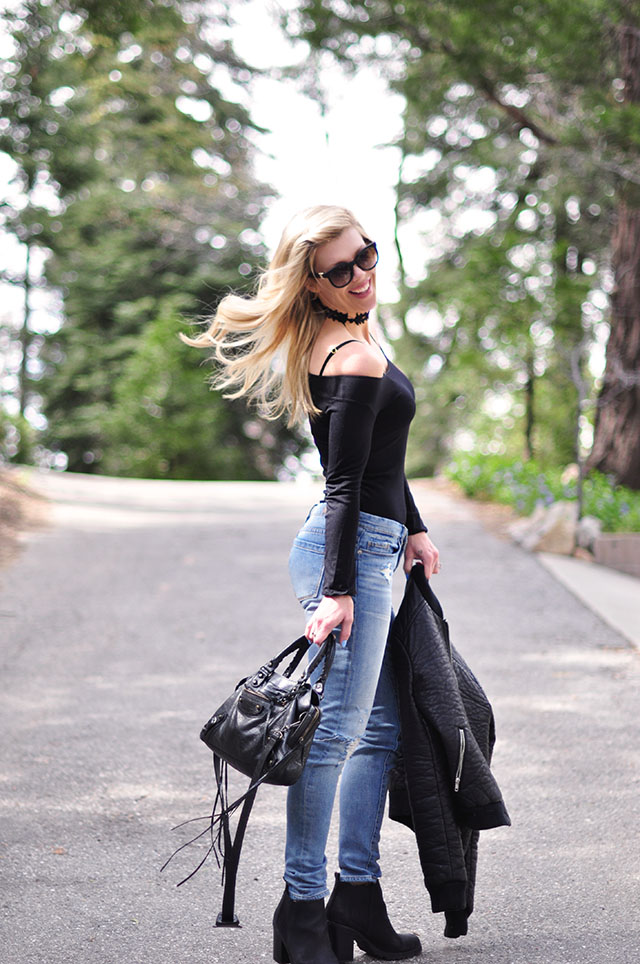 off the shoulder bodysuit and jeans