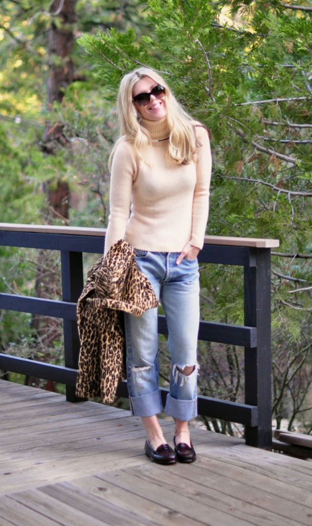 old levis-loafers-turtleneck-leopard coat-1