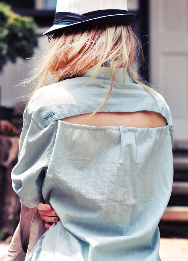 open  back button down shirt  cover up diy