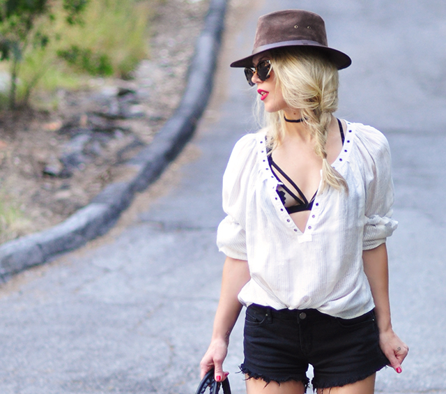 open blouse with strappy bra_cutoffs