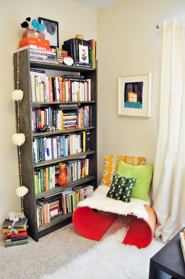 oto chair and bookshelves