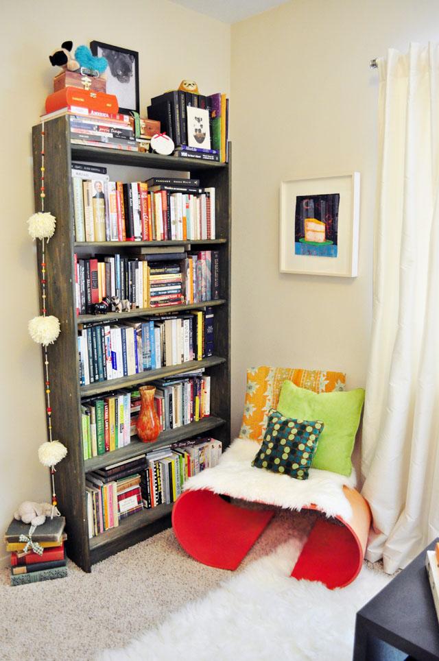 oto chair and bookshelves