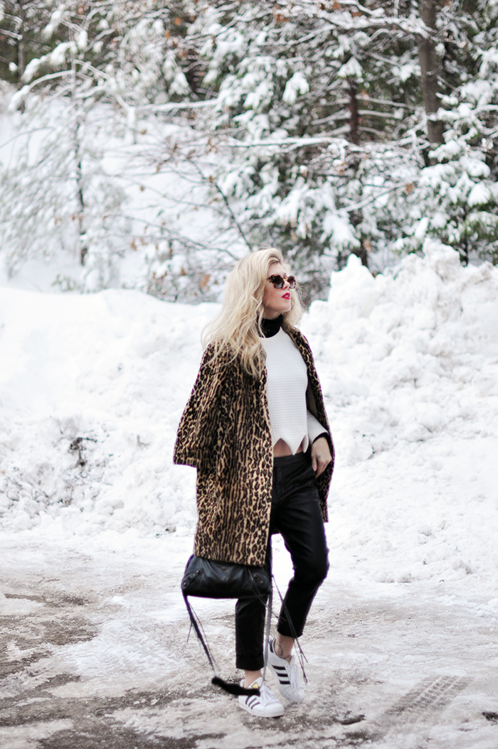 outfit in the snow_adidas_black leather pants_leopard coat