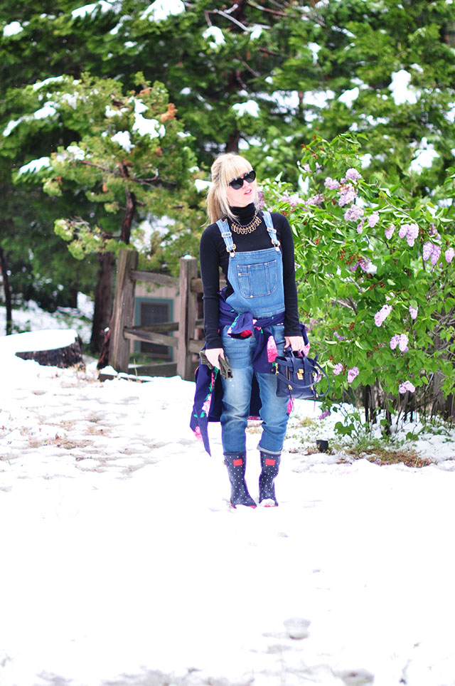 overalls in the snow