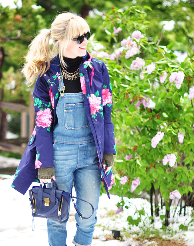 overalls in the snow_pashli mini bag_flower raincoat